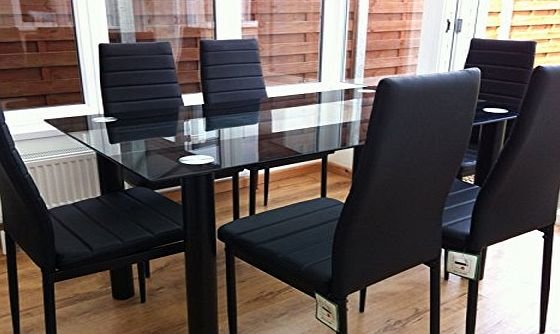 Cravog [UK Stock] Cravog Black Tunning Glass Dining Table Set and with 6 Faux Leather Chairs